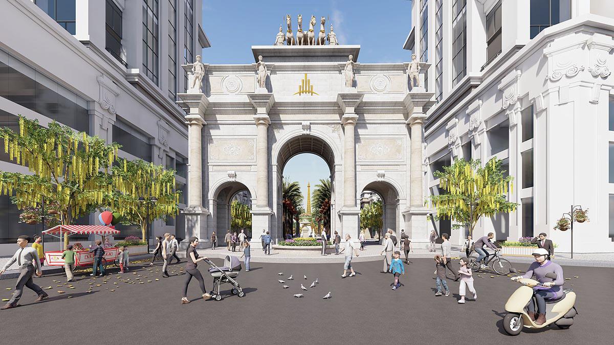 Cổng Khải Hoàn Môn trung tâm thương mại phố Eden (Paris Elysor)