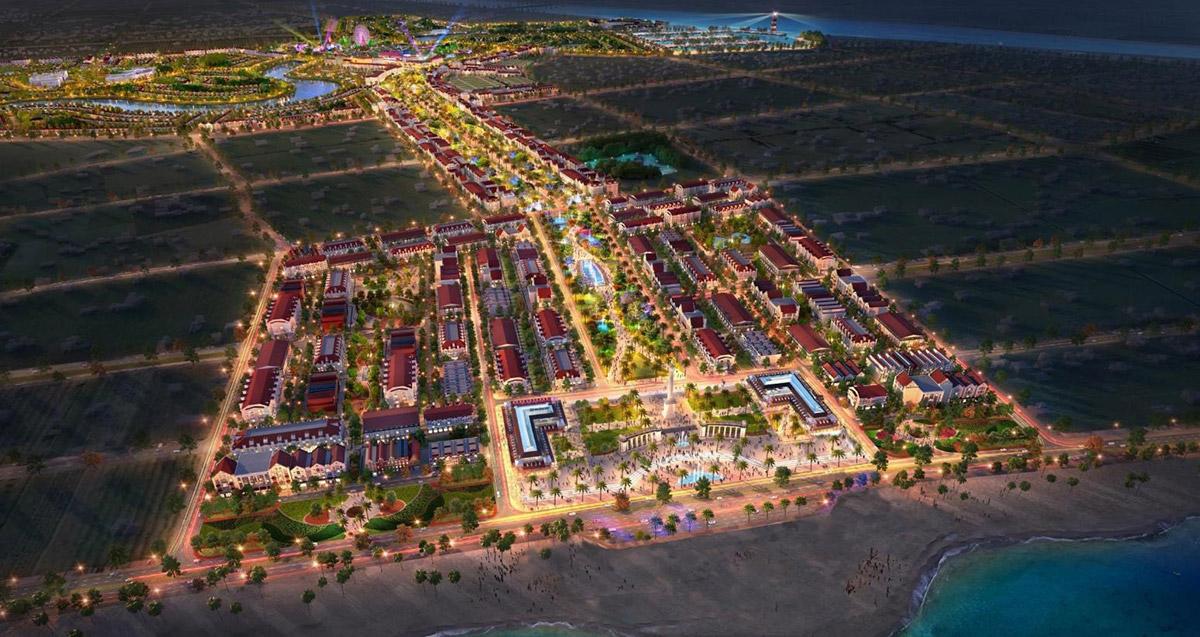 Phối cảnh quảng trường biển, trục cảnh quan lễ hội tại dự án Sun Group Sầm Sơn